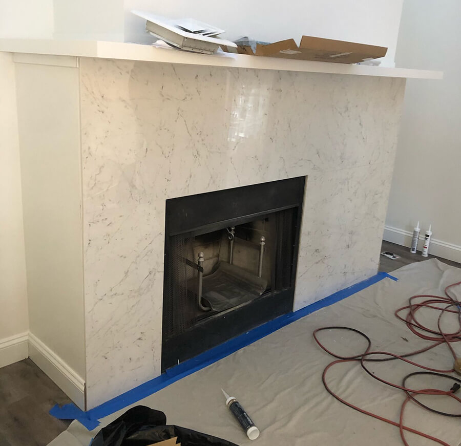 Peabody MA Fireplace Surround Porcelain Installation